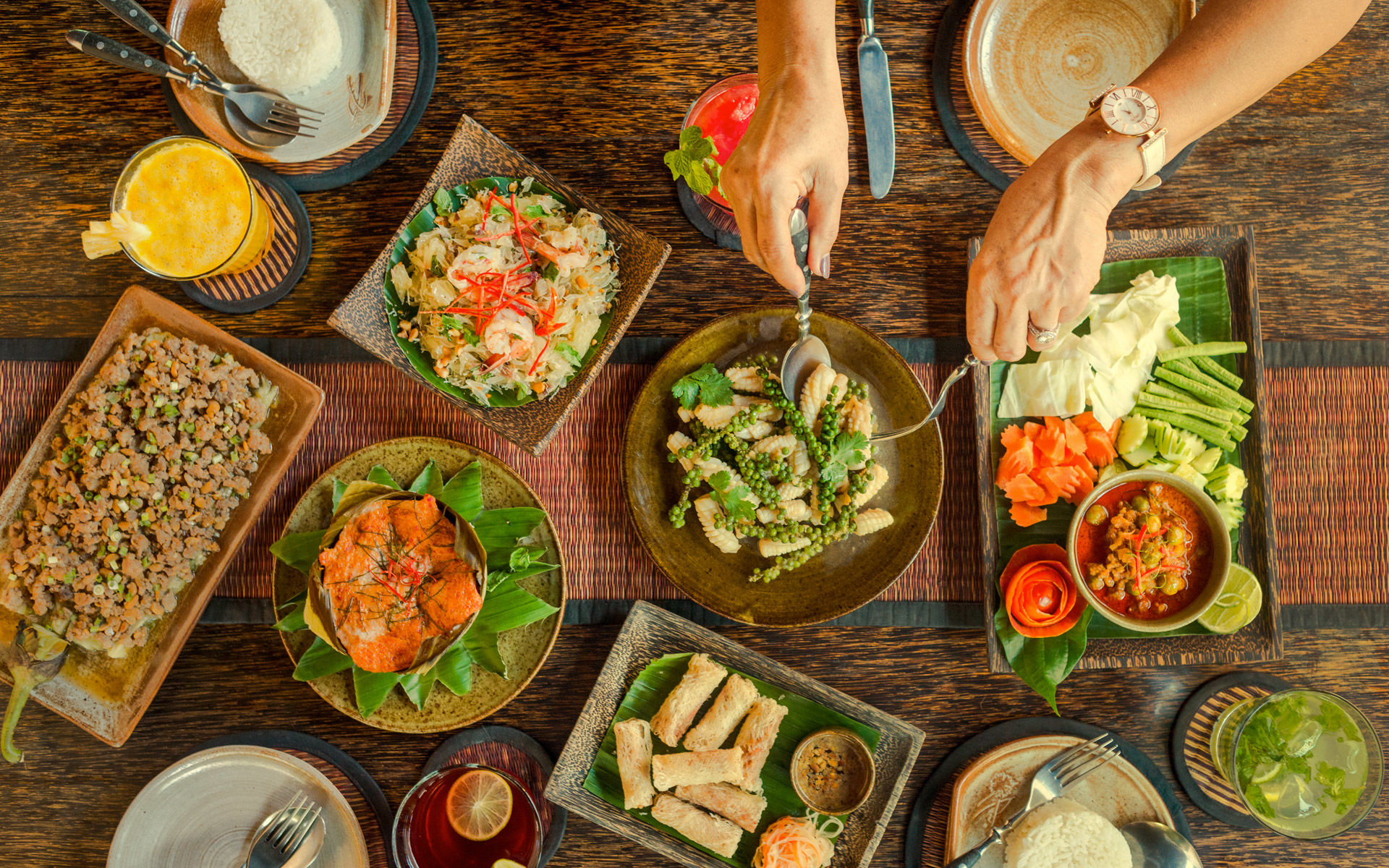 Shared Plates. The Sugar Palm Restaurant & Bar, Khmer food at its best in Phnom Penh and Siem Reap, Cambodia.