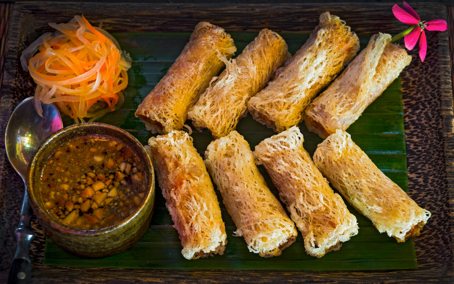 Crispy Spring Rolls. The Sugar Palm Restaurant and Bar. Authentic Cambodian food by chef Kethana with locations in Phnom Penh & Siem Reap, Cambodia.