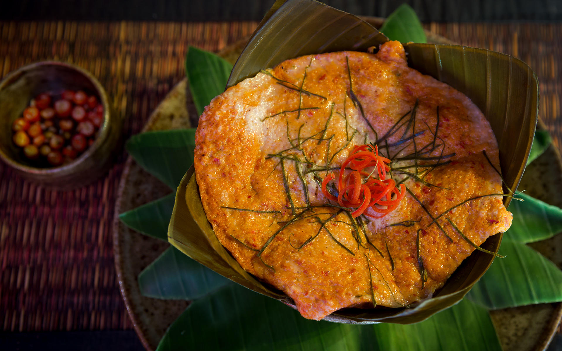 Fish Amok. The Sugar Palm Restaurant & Bar. Authentic Cambodian food by chef Kethana with locations in Phnom Penh & Siem Reap, Cambodia.