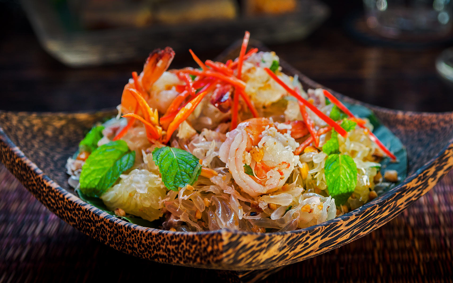 Pomelo Salad. The Sugar Palm Restaurant & Bar. Authentic Cambodian food by chef Kethana with locations in Phnom Penh & Siem Reap, Cambodia.